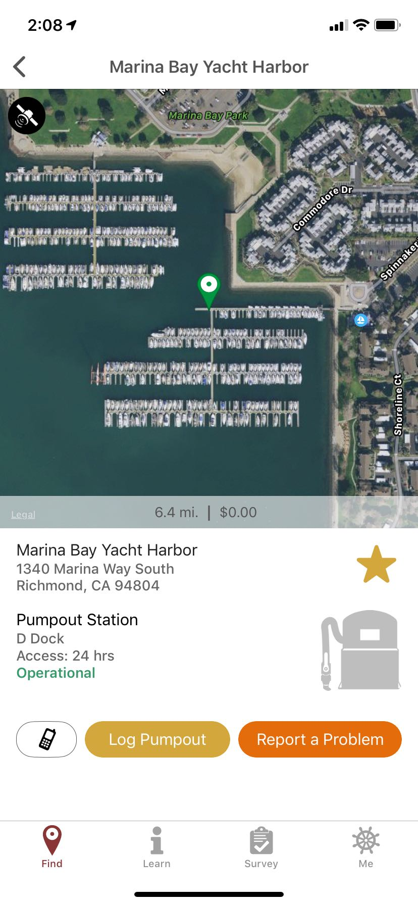 Example of a pumpout station on the Pumpout Nav App