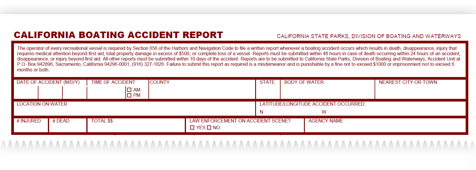 Boating Accident Report Forms